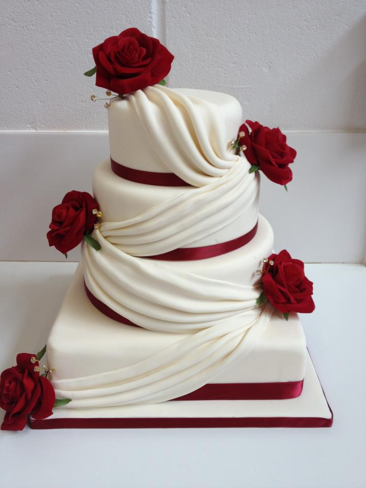 Four Tier Wedding Cake with Swags and Roses